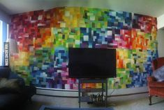 Not allowed to paint my walls, so I had to get creative. Painting my walls using paint samplers.