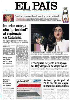 Los Titulares y Portadas de Noticias Destacadas Españolas del 18 de Febrero de 2013 del Diario El País ¿Que le parecio esta Portada de este Diario Español?