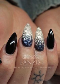 Stiletto nails are so cool! Silver Nails, Pink Nails, Glitter Nails, My Nails, Black Glitter, Matte Black, Black Silver, Black Sparkle, Long Black