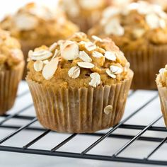 Vegan pumpkin pear almond muffins are a fall treat! Tender moist pumpkin muffins are packed with sauteed spiced pears, crunchy almonds and wholesome oats.