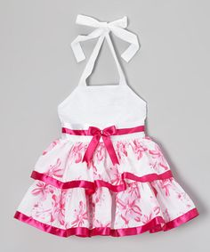 White & Pink Floral Halter Dress - Toddler & Girls by Lele for Kids #zulily #zulilyfinds