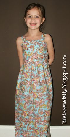 Young Girl's Maxi Dress Sewing Tutorial.  Easy and only about 1 yard of fabric!  MUST SEW!