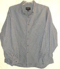 Eddie Bauer Mens 2XL Long Sleeve Button Down Plaid Blue/White 100% Cotton  #EddieBauer #ButtonFront