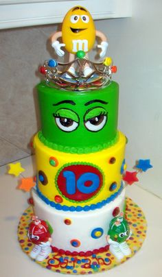 M & M's Birthday Cake - another gr8 cake idea for my favorite M's - Mark & Mary Abraham!