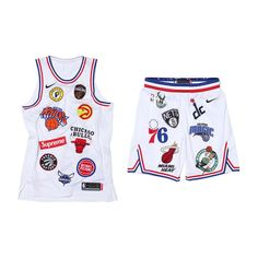 Supreme x Nike x NBA Satin Warm-Up basketball jersey shorts hip-hop suit  white 2217b18b3