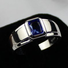 mens wedding bads blue saphire | Size 12 MEN'S 925 Silver Filled Oblong Blue Sapphire Wedding Ring ...