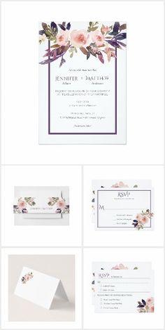 Peach Pink Lavender Watercolor Wildflowers Wedding