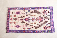 Those WHO DREAM by DAY 8'x4' Boucherouite Rug. Moroccan Berber. Mid Century Modern.