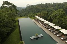 Infinity pool at the Alila Ubud Resort, a secluded hillside retreat that sits high up on the edge of the rich green Ayung River valley in Bali's central foothills