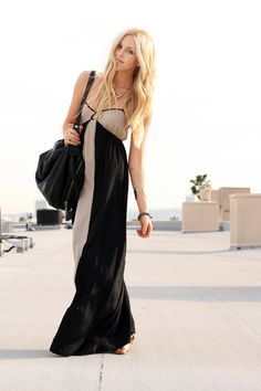black& tan- great long dress look