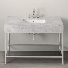 Hudson Metal Extra-Wide Single Washstand - The vanity is often the starting point. You can set the aesthetic with a standout vanity, then pair it with more basic pieces. This marble vanity is a showstopper. It's pricey but would be the defining moment in a bathroom.