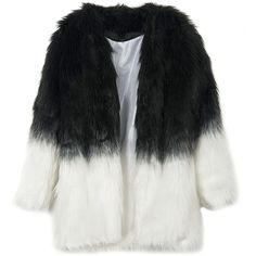 WithChic Monochrome Contrast Faux Fur Coat (814.760 IDR) ❤ liked on Polyvore featuring outerwear, coats, black fake fur coat, long sleeve coat, faux fur coats, imitation fur coats and fake fur coats