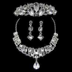 Fashion Hot Sale Crown Tiara Silver Plated Crystal Choker Necklace Earrings Jewelry Set