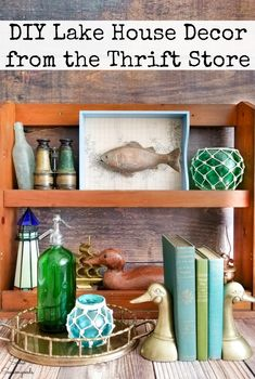 Lake House Decor is reminiscent of days gone by and the best family vacations. AND you can recreate the look for a fraction of the cost by thrift shopping for home decor and a few upcycling ideas that are simple and easy. #lakehouse #lakehousedecor #cabindecor #vintagedecor #thrifthomedecor #thrifting #thriftstoredecor #lakecabindecor #campdecor #cabinstyle