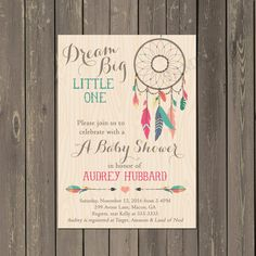 Dreamcatcher Baby Shower Invitation, Tribal Boho Shower Invite, Arrow and Feather Baby Shower, Bohemian Themed Invitation, Gender neutral