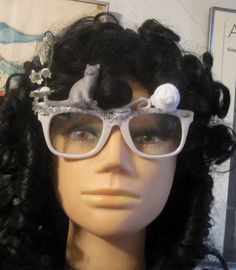 Grey Cat White Ball of Yarn Pink Fantasy Decorated Clear Glasses. $20.00, via Etsy.