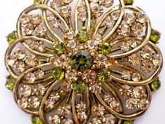 Citrine Peridot Rhinestone Antiqued Estate Gold Tone Large Round Vintage Brooch | eBay