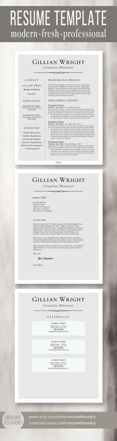 Resume Template And Cover Letter For Word Mac Or By Resumefoundry