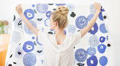 Curtains - Scandinavian Curtains - Blue Curtains - Floral Curtains - Blue Floral - Cotton Curtains - Botanical - Made To Measure Curtains Floral Curtains, Cotton Curtains, Blue Curtains, Curtain Fabric, Cotton Fabric, Nordic Design, Scandinavian Design, Scandinavian Fashion, Textures Patterns
