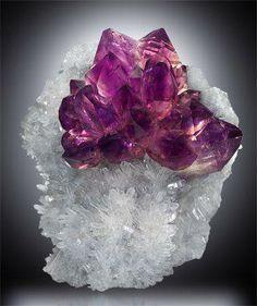 Amethyst on quartz