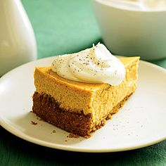 Showstopping Holiday Cheesecakes | Roasted Sweet-Potato Cheesecake with Maple Cream | MyRecipes.com