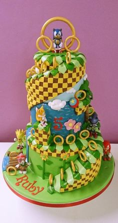 3 Tier Sonic The Hedgehog Cake - Cake by Hayley-Jane's Cakes