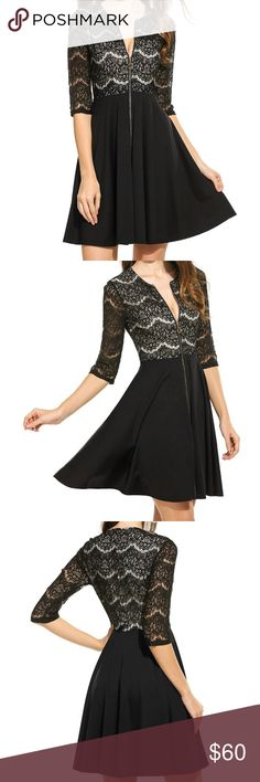NWOT Black Lace Dress Brand new black lace dress with zipper detail in front. 95% polyester and 5% spandex. Dresses Mini