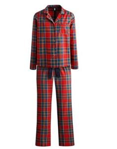 Joules Womens Long Sleeve Pyjama Set, Red Jingle Check.                     Keep the cold at bay and guarantee yourself a cosy night with this long sleeved brushed cotton pyjama set.