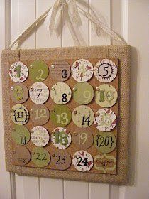 Christmas Countdown Calendar- Websitesays: I made it by mounting a cork tile on a burlap-wrapped pieceof plywood. I cut out a circle for each day in December and usedassorted stickers and scrap booking do-dads to number them. Iwanted it to have a bit
