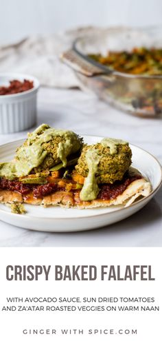 Crispy Baked Falafel with a creamy herby avocado sauce and za'atar roasted vegetables sun-dried tomatoes and warm naan. Vegetarian Recipes, Healthy Recipes, Vegan Meals, Vegetable Recipes, Vegan Food, Healthy Meals, Yummy Recipes, Creamy Avocado Sauce, Baked Falafel