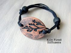 Black Essential Oil Diffuser BRACELET Terracotta Organic Kiln Fired Clay Nature Jewelry Botanical Adjustable Eco Friendly Boho Earthy Gift