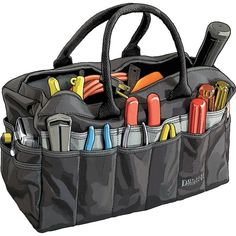Based on Riggerâ?s Bag sailors have been carrying their rigging tools in for centuries. polyester tool bag from Duluth Trading Company is double-layered on the bottom for strength. Camping Tools, Camping Gear, Outdoor Camping, Automotive Shops, Duluth Trading Company, Tool Storage, Cool Tools, Purses And Bags, Backpacks