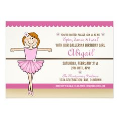 Ballerina Girl Birthday Party Personalized Invitations