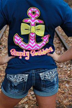 Bow and Anchor Tee from Southern Fried Chics. Saved to Shirts. Shop more products from Southern Fried Chics on Wanelo. Outfits For Teens, Summer Outfits, Cute Outfits, Summer Clothes, Country Outfits, Country Girls, Simply Southern T Shirts, Southern Style, Southern Shirt