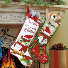 Owl and Fox Christmas Stockings $24.99