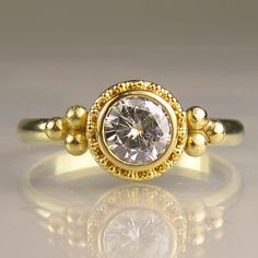 22k Gold Granulated Moissanite Engagement Ring