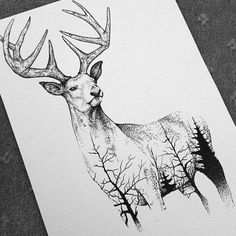 Deer with forest pattern drawing in pen