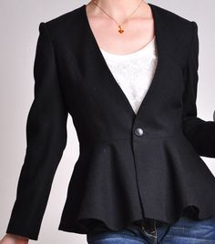 Black Virgin Wool Long Sleeves Peplum Flared Hem Lady by yystudio, $229.80
