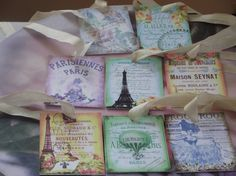 Parisiennes  De   Paris  Gift  Tags With  Cream  Ribbon by mslizz