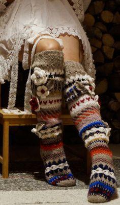 Crochet Socks, Knitting Socks, Hand Knitting, Knit Crochet, Thigh High Socks, Thigh Highs, Yarn Thread, Fair Isle Knitting, Cowgirl Style
