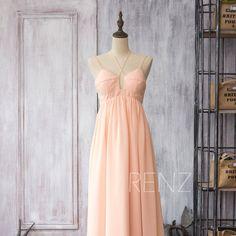 Hey, I found this really awesome Etsy listing at https://www.etsy.com/listing/224331784/bridesmaid-dress-peach-chiffon