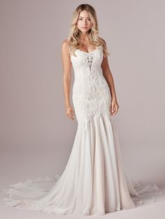Rebecca Ingram - CORRINE, Give those curves the attention they deserve with this ultra-romantic lace mermaid wedding dress. It flatters, forms, and fits like a glove in all the right places.