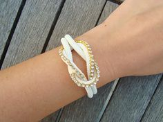White Nautical Knot Bracelet with Crystals by cocolocca on Etsy, $15.00