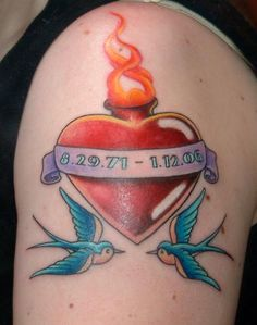 What does sacred heart tattoo mean? We have sacred heart tattoo ideas, designs, symbolism and we explain the meaning behind the tattoo. Heart Tattoos Meaning, Sacred Heart Tattoos, Heart Tattoo Designs, Jesus Tattoo, Picture Tattoos, Cool Tattoos, In Loving Memory Tattoos, Baby Memorial Tattoos, Tattoos For Baby Boy