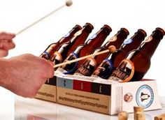 diy bottle xylophone lol--these are beer bottles......hmmmm for school I'd have to use soda bottles
