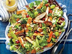This gorgeous salad features breaded chicken tossed with lettuce, broccoli, and grapes, and topped with almonds and a honey and Dijon...
