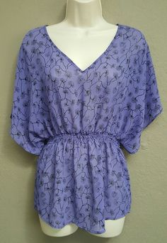Mossimo Womens XS Purple Blouse Black Print Flutter Bat Sleeves Cinch Waist, EUC | Clothing, Shoes & Accessories, Women's Clothing, Tops & Blouses | eBay! #ebay #Mossimo #blouse #clothing #dolman #spring #ecommerce