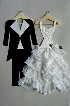 Tux and Bride Greeting Card by Debbie Woo of Woo Designs. Need to try this one.