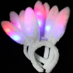 MULTICOLOR Light up FLASHING Blinking NOODLE LED HEADBAND FUN LED Pigtails!