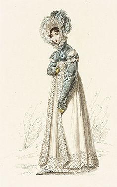 La Belle Assemblee, Walking Dress, March 1819.    So pretty and frilly and beautiful!